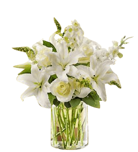Small Bouquet Of Lilies In A Vase