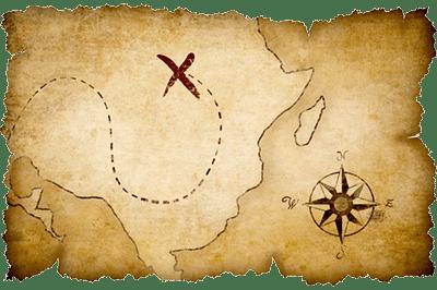 Cross on Treasure Map
