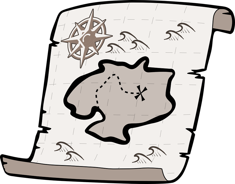 Black and White Treasure Map