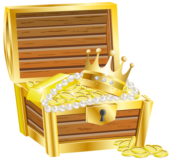 Treasure With Crown and Jewels