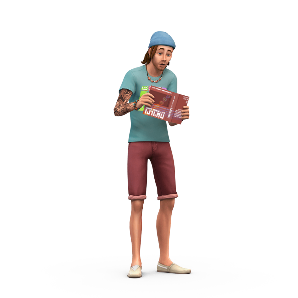 The Sims Guy Reading Book