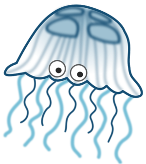 Blue and White Jellyfish with Eyes